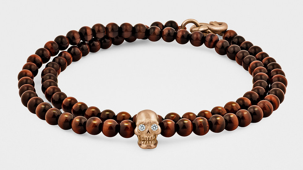 Double-Wrap Skull Bracelet in 18K Gold Diamond Eyes Red Tiger Eye Snake Clasp
