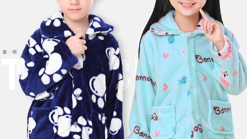 Winter Kids Flannel Sleepwear Girls/Boys Fleece Pajamas Sets