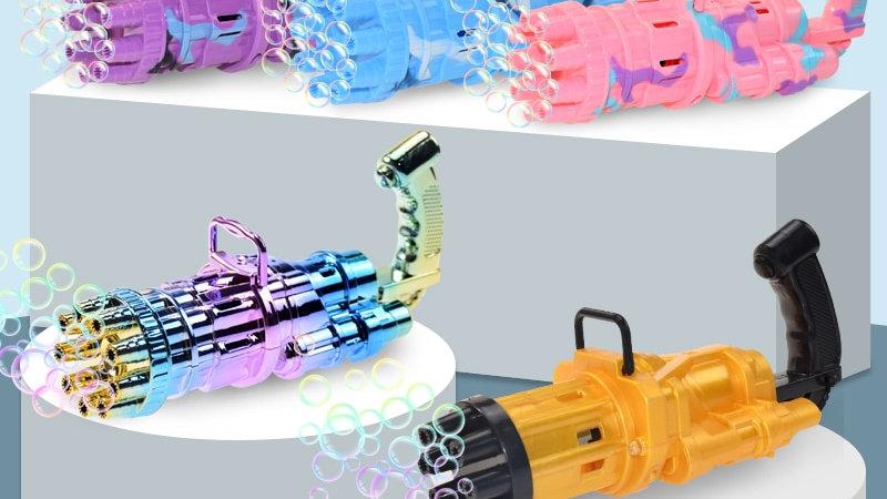 Automatic Gatling Bubble Gun Kid Outdoor/Bath Toy Electric Bubble Machine