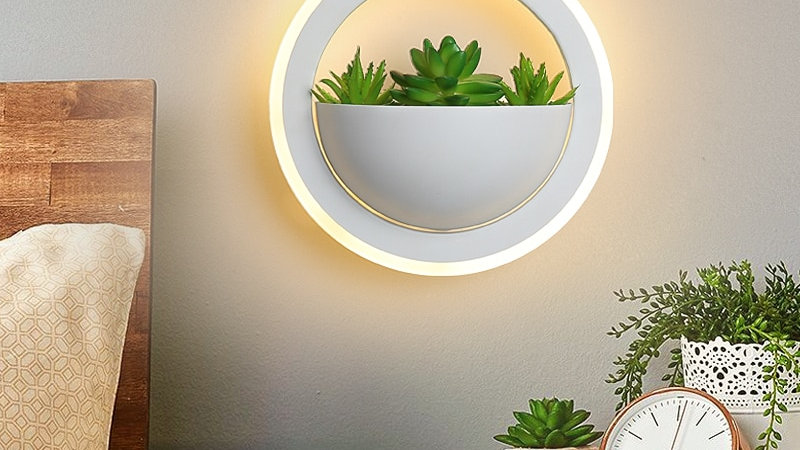 NEO Gleam 20cm Modern Led Wall Light/White Lamp Fixture Wall Sconce W/ Plant