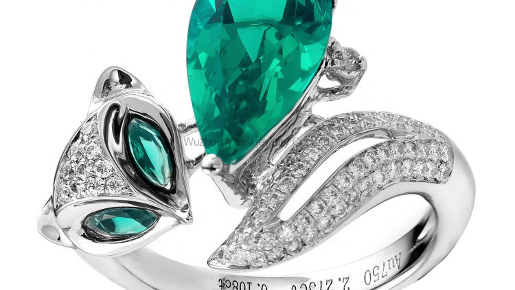 Messi Jewelry 14k 18k White Gold 2ct Created Emerald Ring Jewellery for Thailand