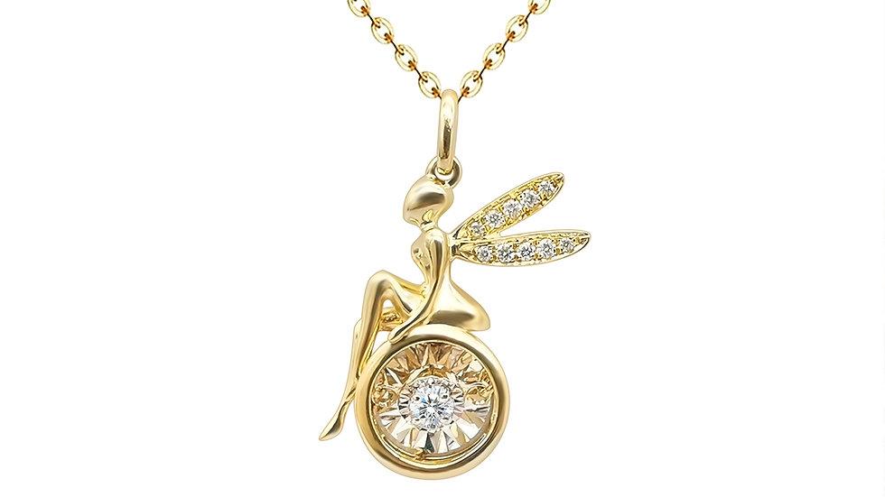 Real 18K Gold Fairy Design Dancing Diamond Angel Pendant