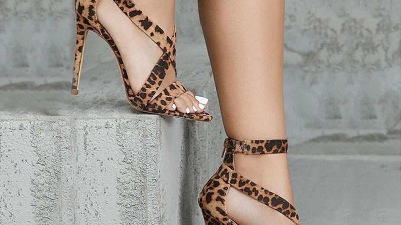 Gladiator Pumps Peep Toe/Leopard Heel