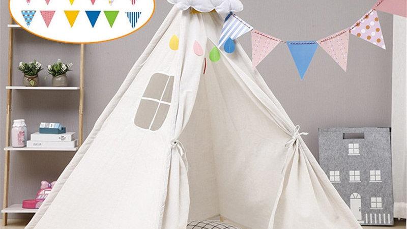 Children's Teepee Tent for Kids Portable Tent/ LED Lights/Carpet