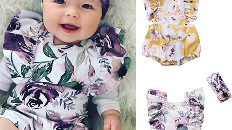 New Baby Girls Floral Backless Romper Girl Ruffle Jumpsuit/Headband