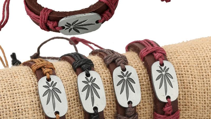 Weed Casual Handmade Woven Vintage Charm Brown Genuine Leather Bracelet