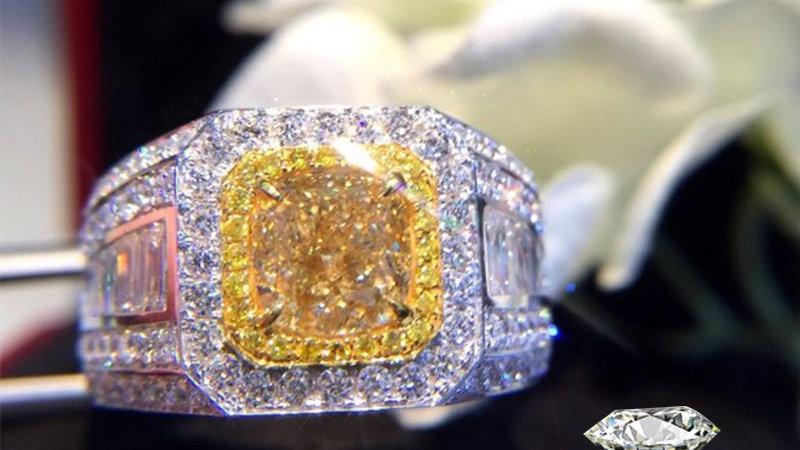 Natural Diamond 18K Gold Pure Gold Ring Beautiful Gemstone Ring