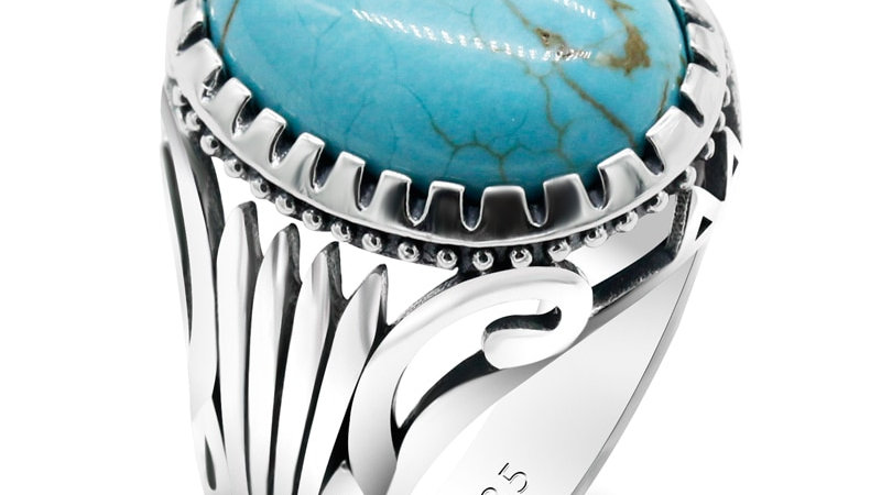 Natural Turquoise Stone Ring for Men 925 Sterling Silver Vintage Oval Stone