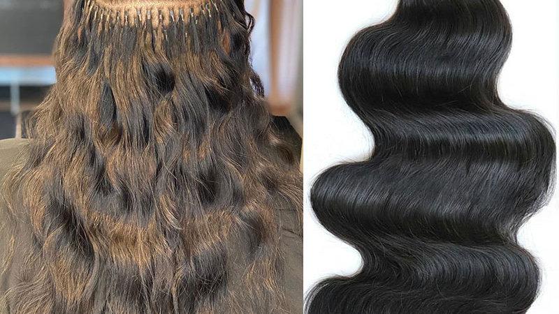 Body Wave I Tip 100%Human Hair Ext Microlinks Brazilian Virg Hair Bulk/Black