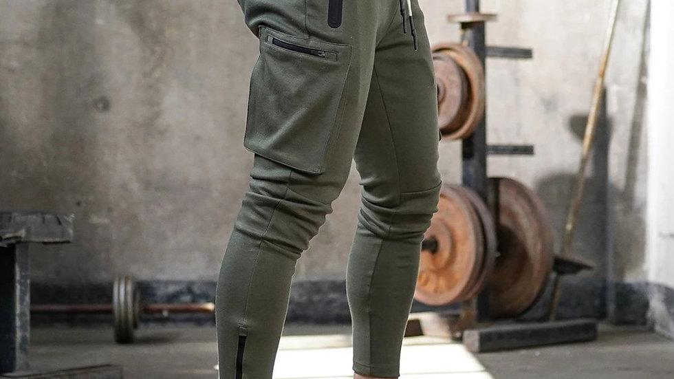 Dayuuuum Joggers Sweatpants Men Casual Skinny Pants Multi-Pocket Track Pants