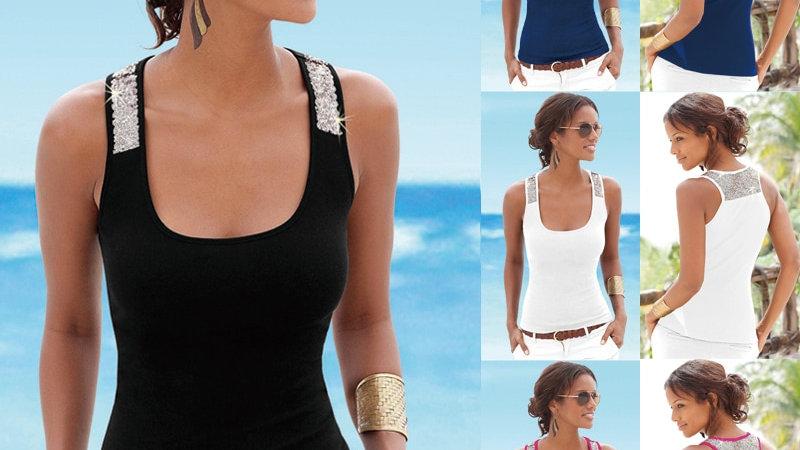 Summa Tank for Women Vest Camisole Elastic Glitter Sleeveless