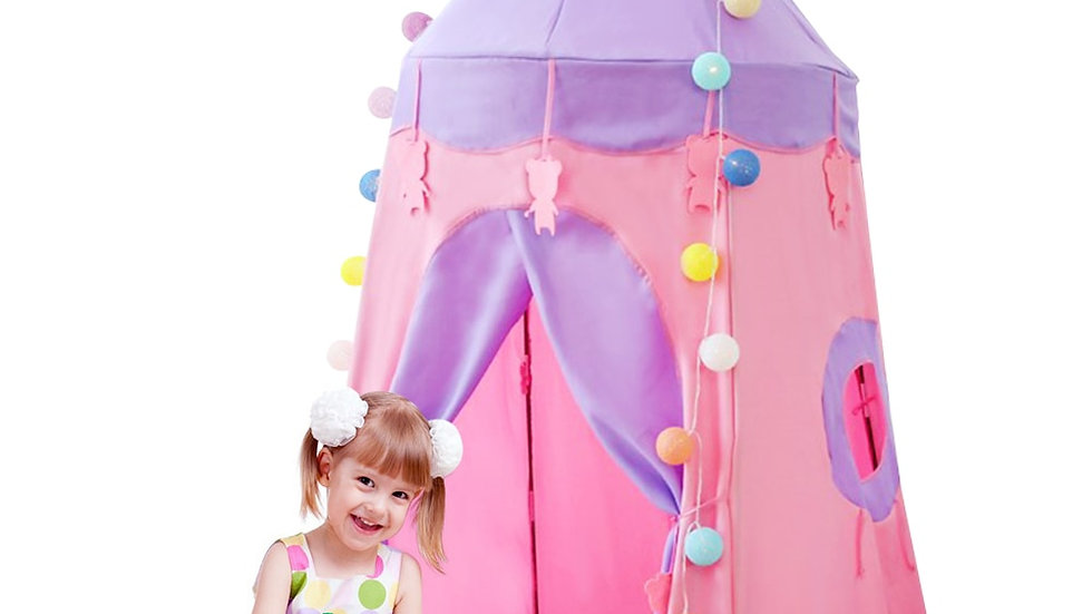 Kids Pink Blue Play Tent for Kids Princess Prince Castle Outdoor/Indoor