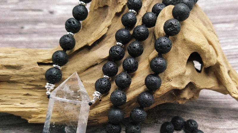 Natural Double Quartz Pendant/Lava  Stone Beads Handmade Necklace