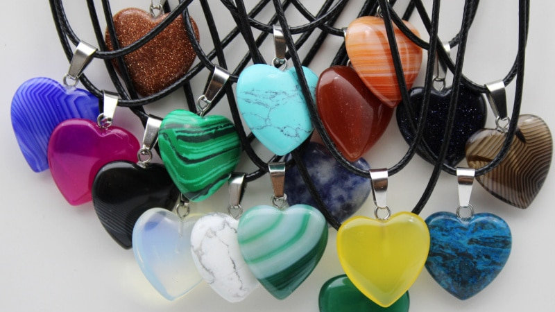 Natural Stone Heart Pendant/Quartz Crystal Agates Turquoises/Jewelry Making
