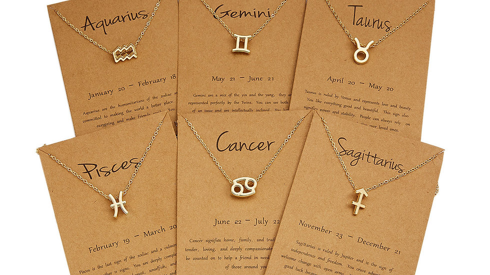 Charm Astrology Sign Copper Pendant 18K Gold PLATED Constellation Wish Necklace
