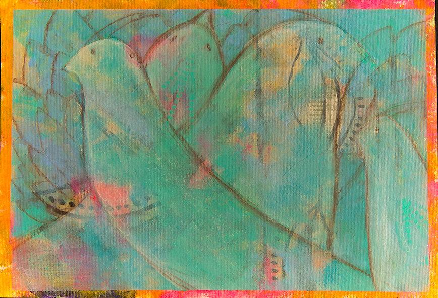quadros para parede, obras de arte, pintura intuitiva, decoracao, acrilico sobre papel, quadro colorido, pintura abstrata, quadro colorido, quadro verde agua, quadro turquesa,quadro de passarinho