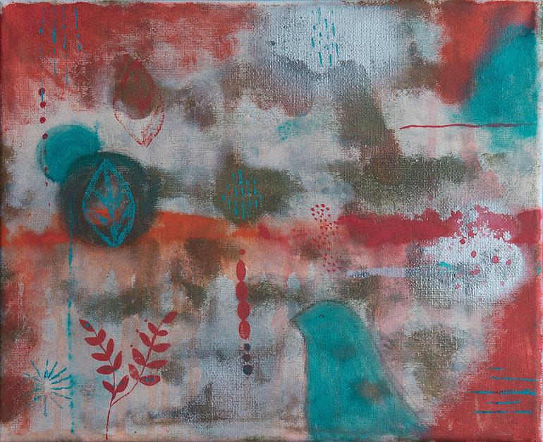 quadro de passarinho, quadro vemelho, quadro azul, quadro pequeno, quadro para parde, obra de arte, pintura intuitiva, quadro para decoracao, acrilico sobre tela, quadro abstrato