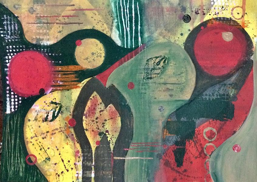 quadros para parede, obras de arte, pintura intuitiva, decoracao, acrilico sobre papel, quadro colorido, pintura abstrata, quadro verde, quadro amarelo