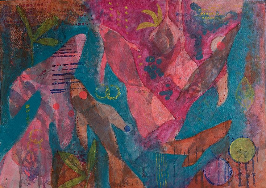 quadros para parede, obras de arte, pintura intuitiva, decoracao, acrilico sobre papel, quadro colorido, pintura abstrata, quadro colorido, quadro turquesa, quadro rosa