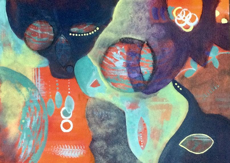 quadros para parede, obras de arte, pintura intuitiva, decoracao, acrilico sobre papel, quadro colorido, pintura abstrata, quadro laranja