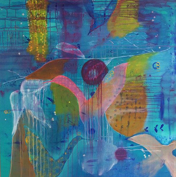 quadro para parede, obra de arte, pintura intuitiva, quadro para decoracao, acrilico sobre tela, quadro de passarinho, quadro tuqueza, quadro azul