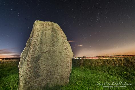 "Grällsta Runestone - Vs 27 ""Torbjörn och Ingefast läto resa efter Sigtorn, sin fader. Han blev död på utfärd. Litle ristade runorna.""   ""Torbjörn and Ingefast had (the stone) raised in memory of Sigtorn, their father. He died on a voyage. Litle carved the runes."""