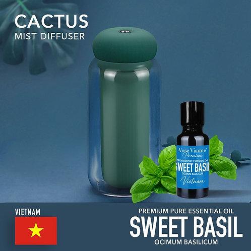 Cactus Diffuser Set - Sweet Basil (Vietnam)