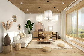 Japandi living room showing interior design style mix of Japanese and Scandinavian elements.