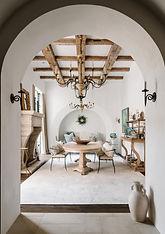 Mediterranean style dining room plus living room
