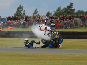 Huge crash for Hopkins as he hits fallen bike