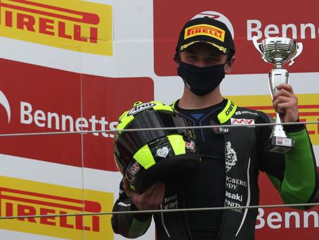 James McManus on the podium at Silverstone
