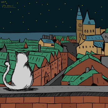 cat watching over the city