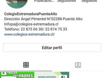 ¡¡Nos Incorporamos a  Instagram Institucional  Colegioextremadurapuentealto!
