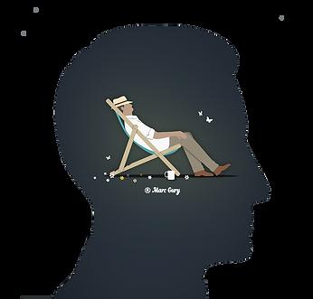 Image d'un homme sur une chaise longue à l'intérieure de la tête d'un homme vue de profil pour représenter la relaxation de l'hypnose.