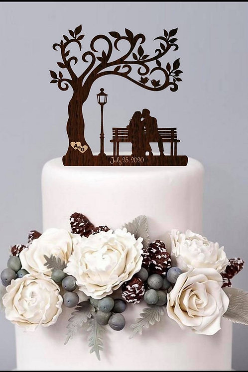 Set of 2 wood cake toppers