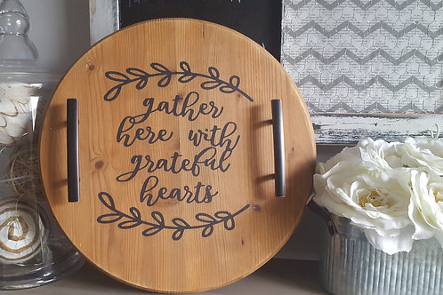 round wood serving tray