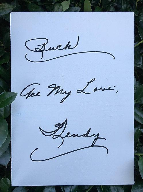 Handwritten sign | Keepsake | Memento of lost loved one