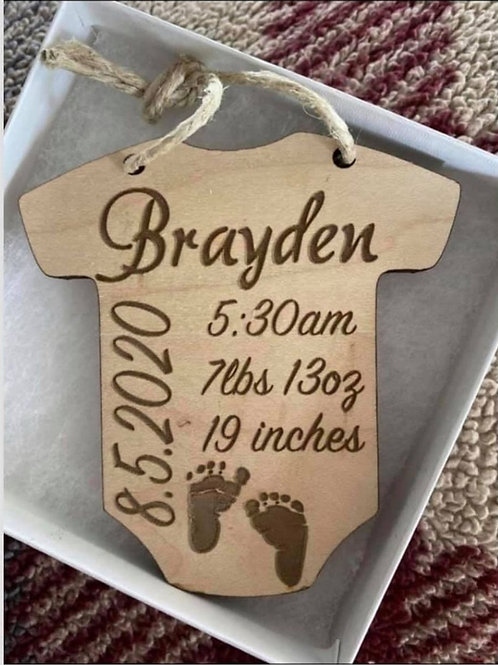 Personalized Onesie Ornament | Baby's First Christmas Ornament | Baby Stats