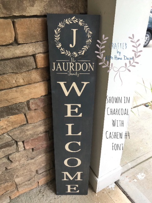 Personalized Porch Sign with monogram, Tall personalized welcome si