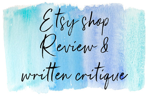 Etsy shop review and written critique