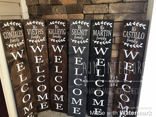 Personalized Porch Sign with Laurel Leaves, Tall personalized welcome sign