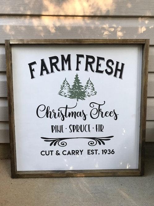 Fram Fresh Christmas Trees - wood Christmas sign