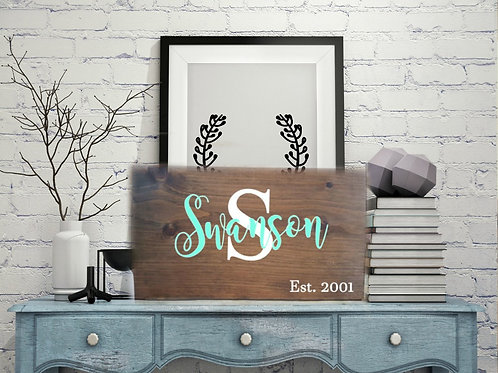 Last Name Sign 12x20