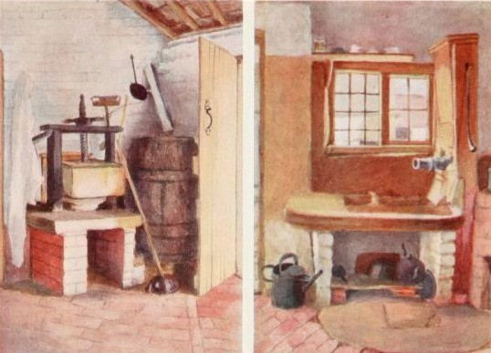 The Kitchen Pump and Old Cheese Press, Rolleston. Early drawings by Kate Greenaway (Spielmann and Layard).