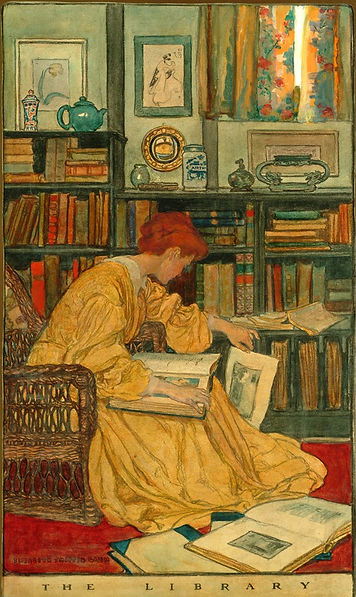 Library, Painting, Books, Reading