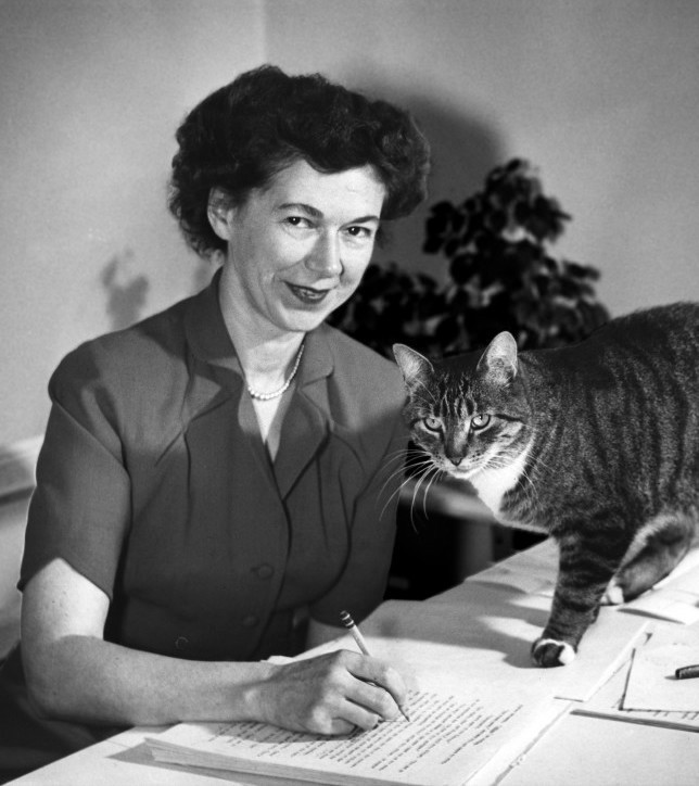 Beverly Cleary with her cat, Kitty, about 1955
