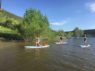 two women outdoors on paddle boards. They are doing warrior two pose: one is standing and one is kneeling. There are trees in the background.