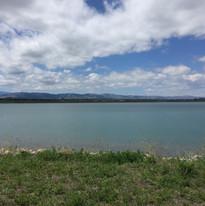the Front Range across Rigden Reservoir