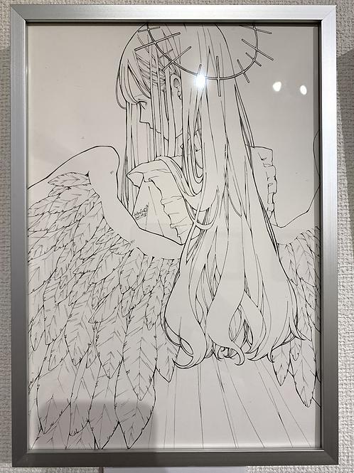 とあるお茶 作「天使(線画)」