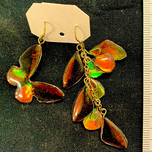 Lepidpterite/蝶の花房ピアス(アカメガネトリバネ)